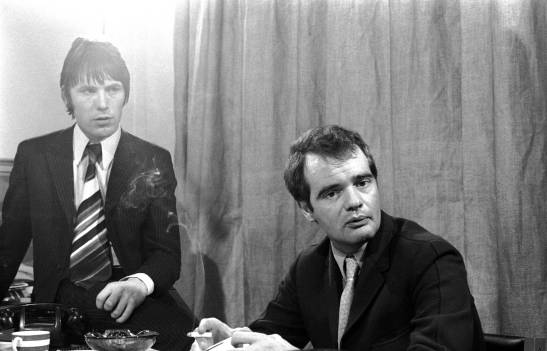 UNITED KINGDOM - JANUARY 01:  Photo of Chris STAMP and Kit LAMBERT; with Chris Stamp at the offices of Track Records in Soho  (Photo by Jan Olofsson/Redferns)